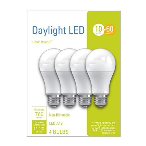 GE LED Light Bulbs, A19 General Purpose (60 Watt Replacement LED Light Bulbs), 760 Lumen, Medium Base Light Bulbs, Daylight, 4-Pack LED Bulbs