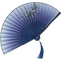 扇子 レディース エレガントなブループリントのレディース扇子、 教会の結婚式のファンはタッセルで飾られています、 ホリデーギフト (Color : Blue-E, Size : 38cm*2)