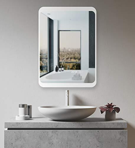 HOKO® LED Bad Spiegel beleuchtet mit Digital Uhr  ANTIBESCHLAG SPIEGELHEIZUNG kaufen  Bild 1*