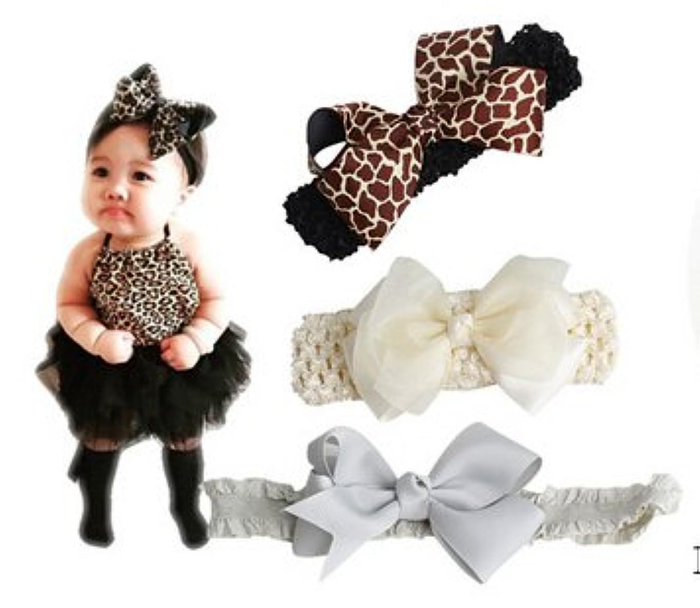 論理虹習熟度ベビー 用 ヘアバンド 3点セット 伸縮性 赤ちゃん はなリボン 髪飾り 出産祝い 内祝い 誕生日 記念撮影 カラー (3#)