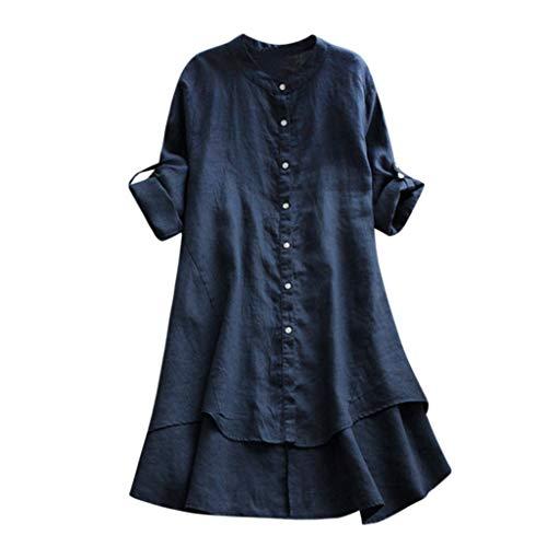 Vrouw casual dames O-kraag linnen lange mouwen casual losse tuniek tops T-shirt blouse dames zomer herfst lange mouwen shirt vrije tijd top comfortabele mode elegant