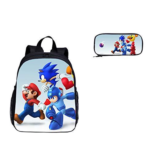 Mochila escolar Sonic cartoon 2 unids/set de mochila escolar de jardín de infantes, mochila escolar con estampado de Super Mario Vs Sonic The Hedgehog para niños