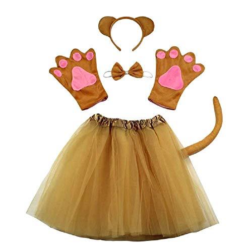 Disfraz de oso de peluche - oso de peluche - para nia - nia - tut - diadema - guantes - pajarita - cola - disfraz accesorios halloween carnaval cosplay - color marrn
