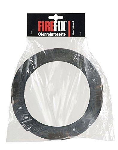 FIREFIX 1760 Ofenrohrrosette für 2 mm Starke Ofenrohre/Rauchrohre in 120-135 mm Durchmesser, für Kaminöfen und Feuerstellen, Senotherm, schwarz, verstellbar