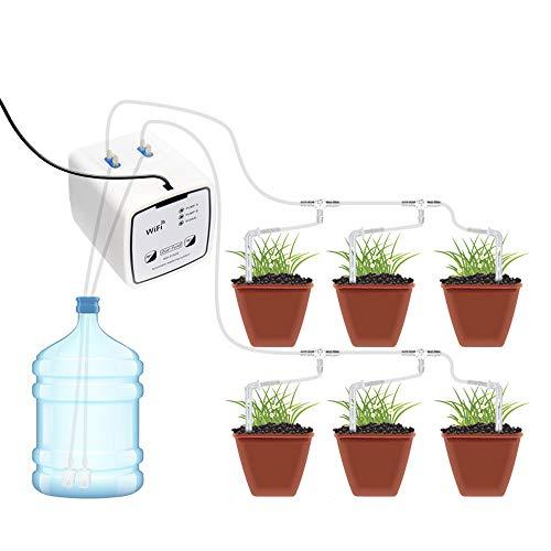 LifBetter Dispositif d'arrosage automatique, système d'irrigation goutte à goutte avec connexion Wi-Fi, dispositif d'irrigation à double pompe unique pour fleurs de jardin