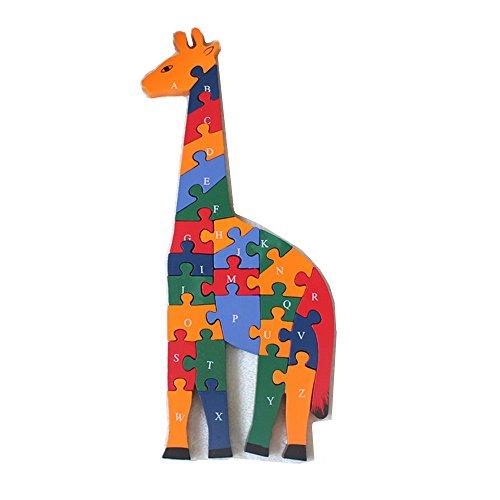 FunnyGoo Jirafa de Madera Alfabetos y números Jigsaw Puzzle Bloques de números y Letras Juguetes de Aprendizaje temprano