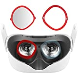 Vakdon [-3.5 Dioptría] Luz Anti-Azul Lentes de Miopía + Oculus Quest 2 Marco de Protección de Lentes, Proteja Oculus Quest 2 de Arañazos, Marco Magnético (para Ojo Izquierdo) (Rojo)