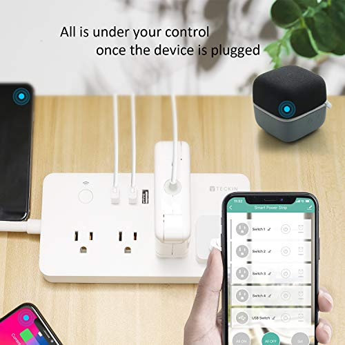 Smart Power Strip WiFi Power Bar 3.28ft Extension Cord Compatible with Alexa,Google Home, TECKIN Surge Protector with 4 USB Charging Ports and Smart AC Plugs for Multi Outlets