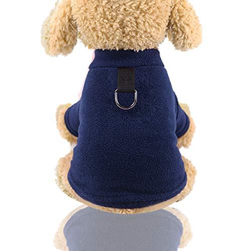 MuXiaRen Hundemantel Pullover Jacke Klassisch Warme Mäntel Großer Hund Winterkleidung Mit Leinenhaken Für Welpen Kleine Mittlere Hunde Chihuahua Teddy Mops,Blue-S