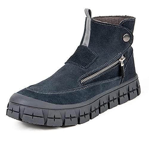 Zapatos de trabajo 2021 Hombres Soldador Soldadura Botas de seguridad, Zapatos de trabajo de piel de vaca de gamuidos livianos, zapatos de trabajo con cremallera lateral altos zapatos casuales de zapa
