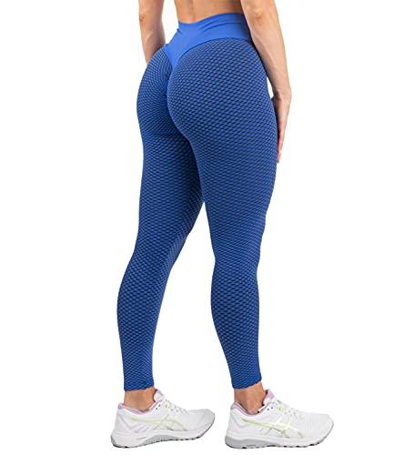 DUROFIT Booty Leggings Scrunch Butt Sportsleggings Sportstrumpfhosen Po Push Up Sport Hose Yoga Pants High Waist Leggings Fitnesshose Yogahose Lifting Leggings Damen Sport Leggings Push up Blau