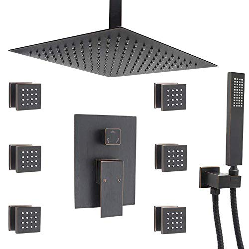 Shower Faucet Set Complete Kit with 12 Inch Rain Shower Head System, Oil Rubbed Bronze