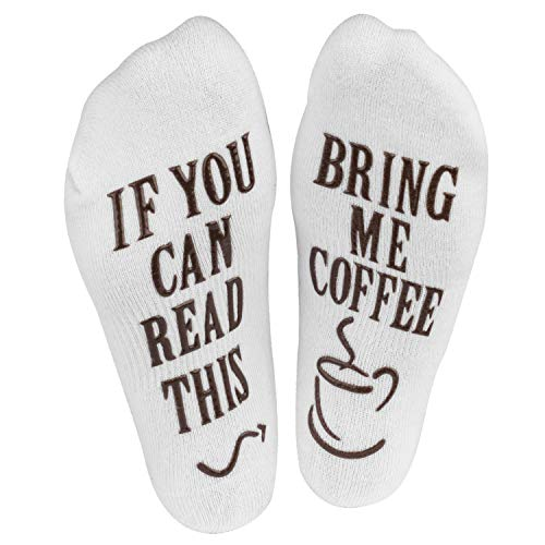 """Haute Soiree - Women's Novelty Socks - """"If You Can Read This, Bring Me Some"""" - One Size Fits All (Coffee)"""