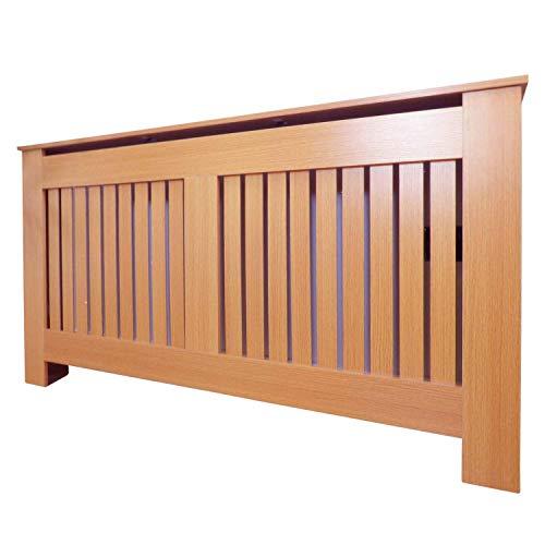 Jack Stonehouse Radiator Cover Modern Vertical Slat MDF Wood Cabinet, Oak Large