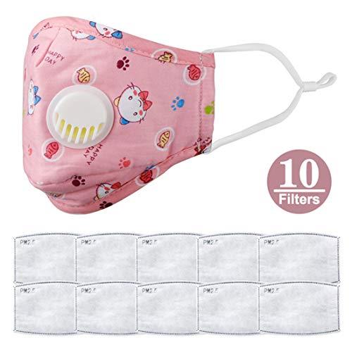 Kinderen gezichtsbescherming, 5-laags actieve kool ademend wasbaar, Beschermingstool met ademhalingsautomaat, Anti-condens stofdichte buitenactiviteit,B