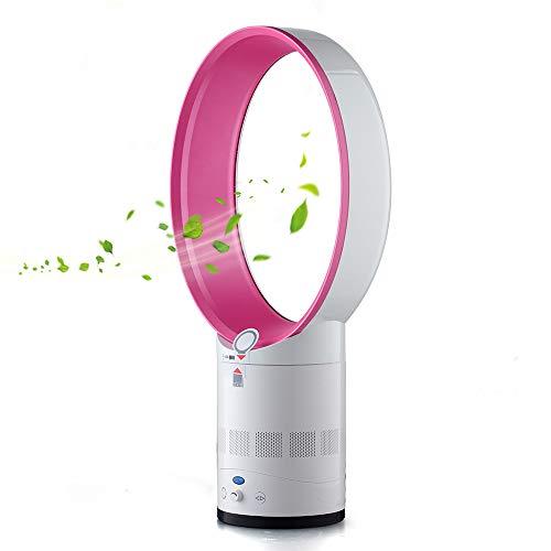 Turmventilator Lüfter, Leafless Silent Fan, oszillierender Turmventilator mit Fernbedienung, Luftzirkulator mit Sleep-Timer-Funktion für Zuhause, Büro, Schlafzimmer. (Rosa)