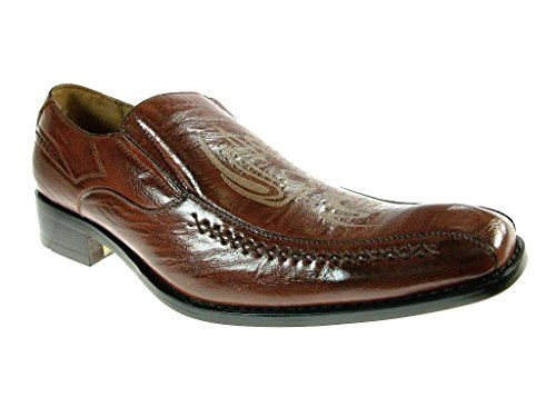 Delli Aldo Men's 18655-Brown Tribal Slip On Loafers, Brown, 7.5