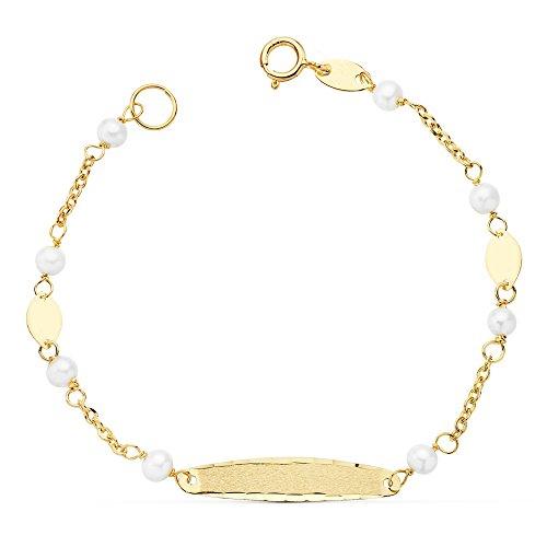 Esclava Niña 1ª Comunión Oro 18k 15 cm Perlas (Personalizada con grabado)