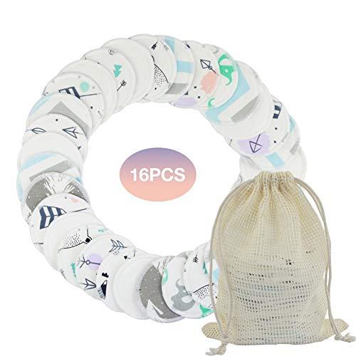 16 PCS Coton Lingette Demaquillante Lavable Réutilisable Biologique, Coton Démaquillant Lavable Bio Pour Tous Types De Peau; EXTRA Sac De Lavage/de Rangement