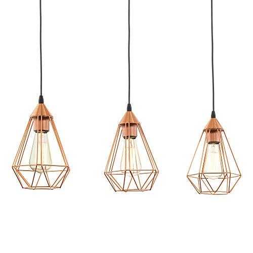Lámpara colgante EGLO TARBES, lámpara de suspensión vintage con 3 bombilla de estilo retro, material: acero, color: Cobre, negro, casquillo: E27