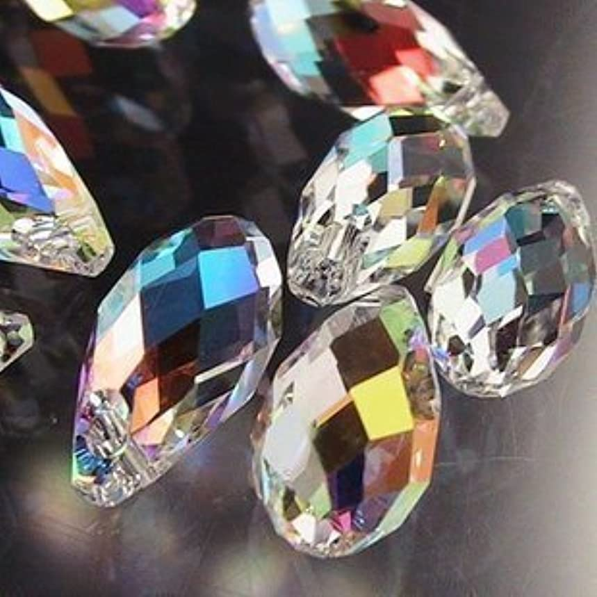 TianBo 100pcs 6x12mm Wholesale Drilled Drop Clear Crystal Ab Beads Gemstone Loose Beads BBS07