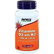 Now Foods Vitamin D-3 & K-2 (1,000IU, 45mcg, 120 Vegetarian Capsules)