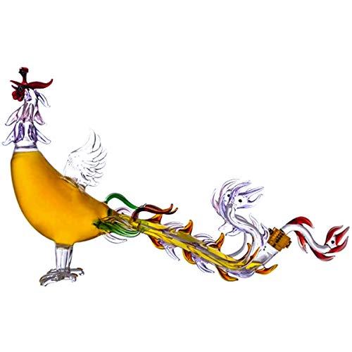 ZYGF Decantador De Whisky, Jarra Y Vasos De Whisky Phoenix 500ml con Tapón Hermético Creativo, Decantador De Licor De Vidrio Vidrio De Borosilicato Alto para Decoración De Cenas Y Fiestas En El Hogar