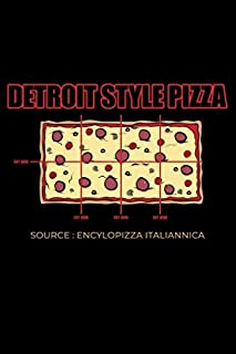 Journal: Detroit Style Pizza Square Pepperoni Pizza Slice Italian Black Lined Notebook Writing Diary - 120 Pages 6 x 9