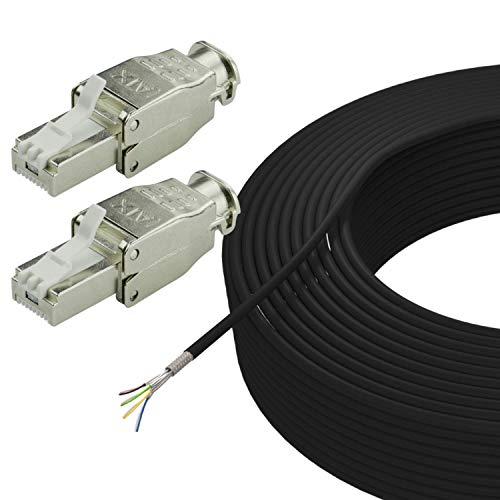 AIXONTEC 50 m Cat.7 Erdkabel Set mit 2 RJ45 Stecker geschirmt LAN Ethernet Netzwerk Kabel AWG 23/1 UV-Beständig Outdoor für Außenbereich und in die Erde – Werkzeugfrei – Selbstmontage