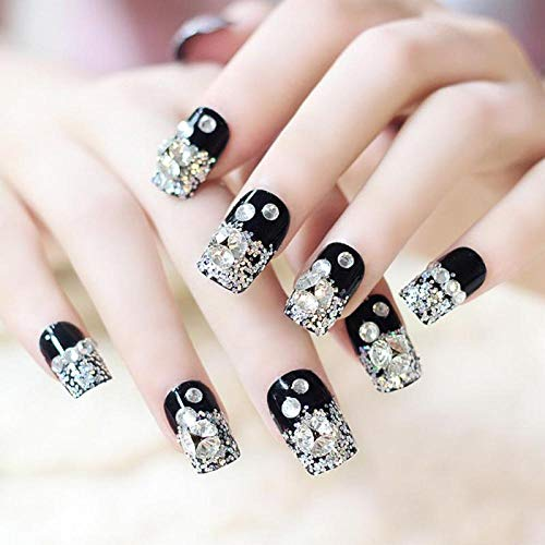 CSCH Faux ongles 24 Pcs Black Rhinestone False Nail Bride Fake Nail Manicure Double Sided Tape Wedding Nail Art Decoration Manicure Accessories