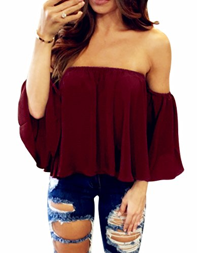 Women's Summer Off Shoulder Blouses Short Sleeves Sexy Tops Chiffon Ruffles Casual T Shirt (M,Wine Red)