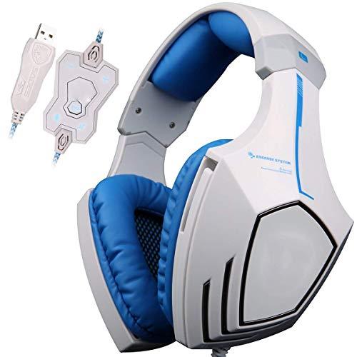 Casque de jeu, son surround stéréo 7.1 canaux avec isolation du bruit, microphone intégré, contrôle LED pour PC, PS4, Xbox One, bleu (couleur : blanc)