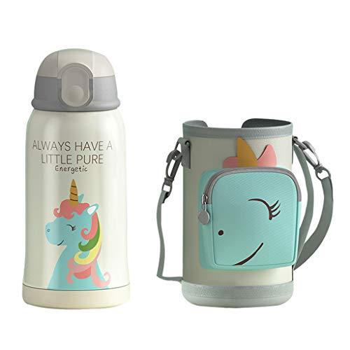Botella de Agua Aislada al Vacío con Pajita para Niños Unicornio Frascos Térmicos Sin Bpa Termo Botella Personalizada para Infantil Acero Inoxidable Termo Taza Viaje, 550ML, Rosa