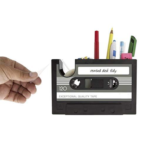 Creative Tape Design Desktop Pen Houder Vaas Case, Retro Cassette Tape Dispenser Vaas Pot, Decoratieve Bureau Tidy Organizer Opslag, Office briefpapier Opslag Container- Uniek geschenk Grijs