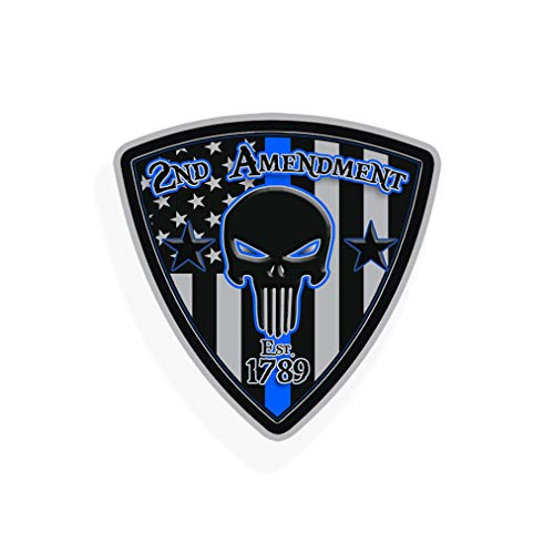 2nd Amendment Badge Sticker Blue line Vinyl Decal - Support Police Lives Matter Law Enforcement USA America Military Flag US Second 2A