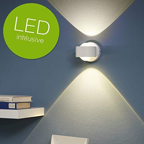 Preisvergleich Produktbild Up-and Downlight LED-Wandleuchte Ono 2 aus edlem Aluminium und klarem Kunststoff / inkl. Leuchtmittel / Moderne Wandlampe für Wohnzimmer,  Schlafzimmer,  Flur,  Kinderzimmer,  Büro / 230V / 5W / IP20