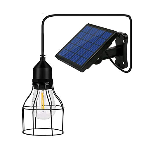 Wonepic Metal Solar Lights Outdoor Solar Lights IP65 Waterproof Led Shed Light Pendant Light With Adjustable Solar Panel For Home Yard Garden Corridor Decorate A