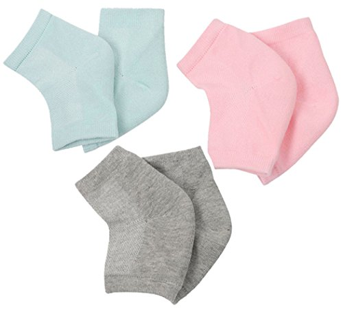 Xiaoyu chaussettes à talon en gel à ventilation douce, chaussettes ouvertes pour peau sèche, dure et craquelée, soin hydratant de jour et de nuit, 3 paires (rose, gris, gris, cyan-bleu)