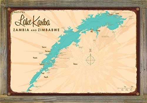 Northwest Art Mall Lake Kariba, Zambia & Zimbabwe Map Rustic Metal Print on Reclaimed Barn Wood by Lakebound 12' x 18'