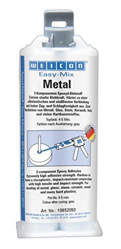 Weicon 10652050 Easy-Mix Metal 50ml Epoxyd-Klebstoff für Metall, Kunststoff, Holz, Glas, grau/grün