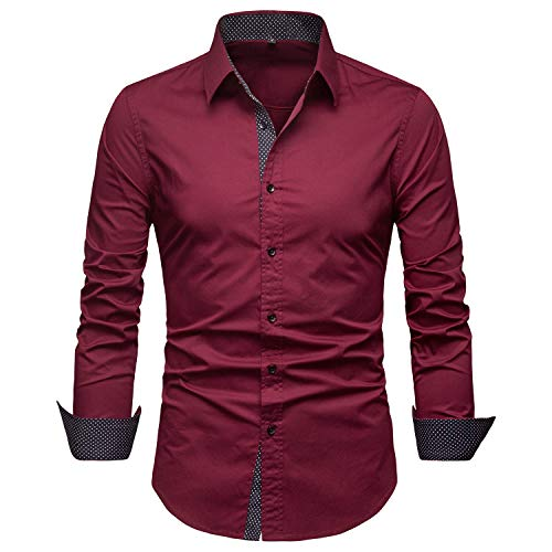 Manwan walk Mens Dress Shirts Regular Fit Button Down Long Sleeve Men Casual Shirt (Small, Wine red)