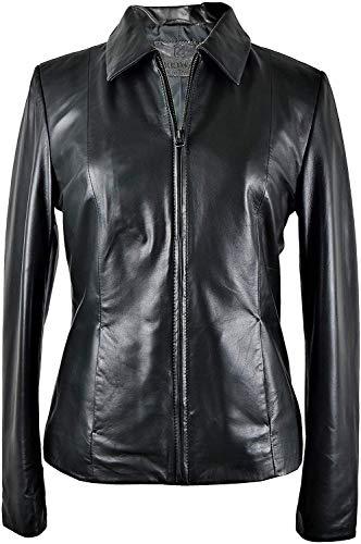 Zerimar Chaqueta Mujer | Cazadora Mujer | Cazadora Cuero | Chaqueta Cuero | Cazadora Piel Color Negro-Verdoso Talla XL (Ropa)