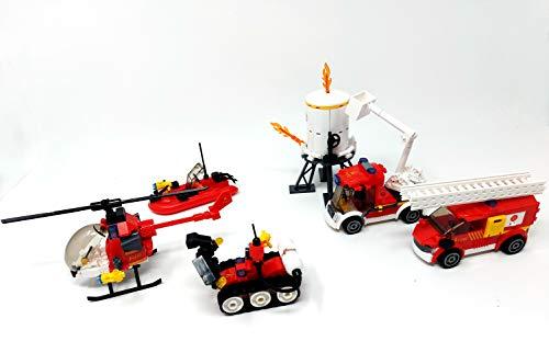 Brigamo Bausteine Feuerwehr Löschzug mit Leiterwagen,Feuerwehrauto mit Teleskop Korb,Hubschrauber,Schlauchboot und Löschroboter