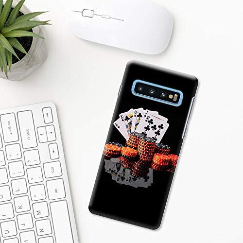 Poker-Karten Hülle Samsung Galaxy S10 Plus S10e S9 S8 S7 edge S6 S5 note 8 9 10 Pro 5 BLACK Jack Turnier Karten casino poker chips