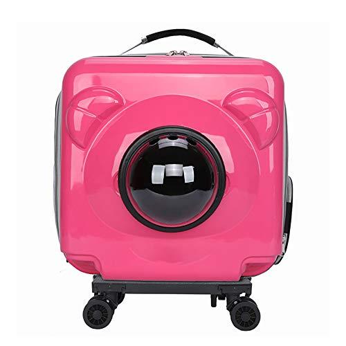 EREW Mochila para Mascotas Space Capsule con Ruedas, transportador de Viaje para Gatos y Perros, 4 Colores, diseño Transpirable, Gran Espacio, Adecuado para Perros pequeños y Gatos,Rosado