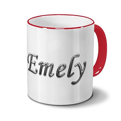 printplanet Tasse mit Namen Emely - Motiv Chrom-Schriftzug - Namenstasse, Kaffeebecher, Mug, Becher, Kaffeetasse - Farbe Rot
