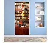Forlingnight Türfolie,Bücherregal Aufzug Holz Tür