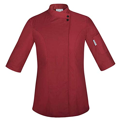Food Chef Küchenjacke Weiß Hotel Uniform Sommer Restaurant Kellner Arbeitskleidung Kleidung Damen Küchenjacke,Red,M