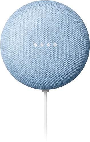 Google Nest Mini Sky - Dual Front-Firing Speakers - Built in Chromecast - 360-degree Sound - Voice Match Technology - Bluetooth?