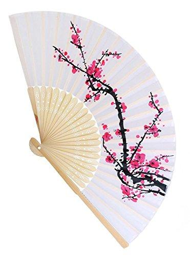 Delicate Cherry Blossom Design Silk Folding Fan Favors, 1